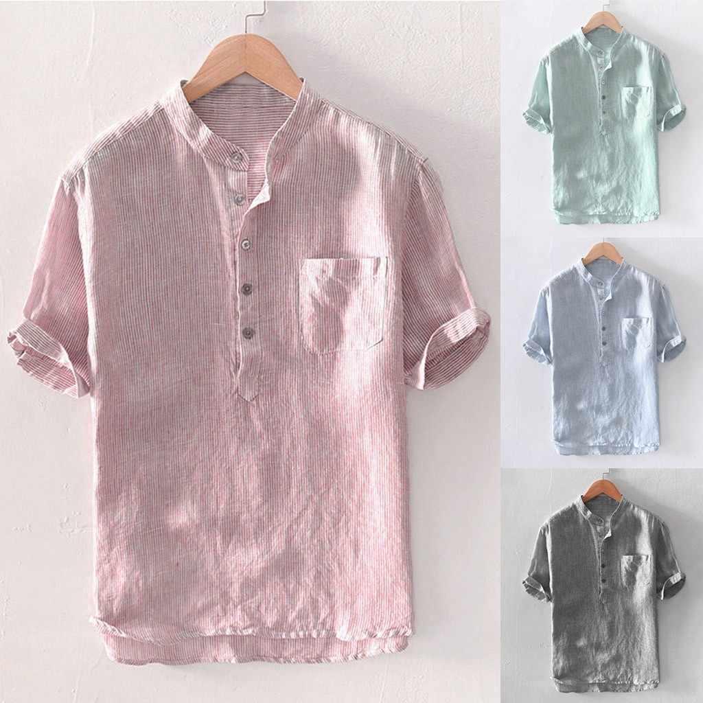 メンズバギーストライプ綿リネン半袖ボタンポケットシャツブラウス M-3XL トップス camisas やつ漫画 · ラルガ快適な #30