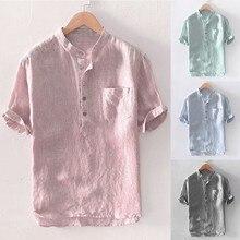 Men Plus Size Baggy Stripe Cotton Linen Short Sleeve Button Pocket Shirts Tops B