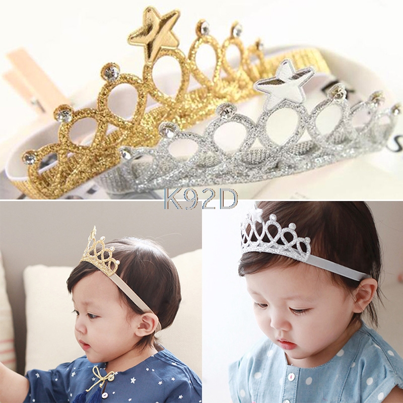 Baby Girl Toddler Cute Lace Crown Headband Headwear Elastic Hair Band Headdress N20