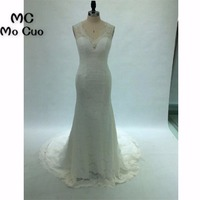 Real 2018 New Mermaid Gown Wedding Dresses Bridal Gowns Sleeveless Vestido De Noiva Sheer Lace Count