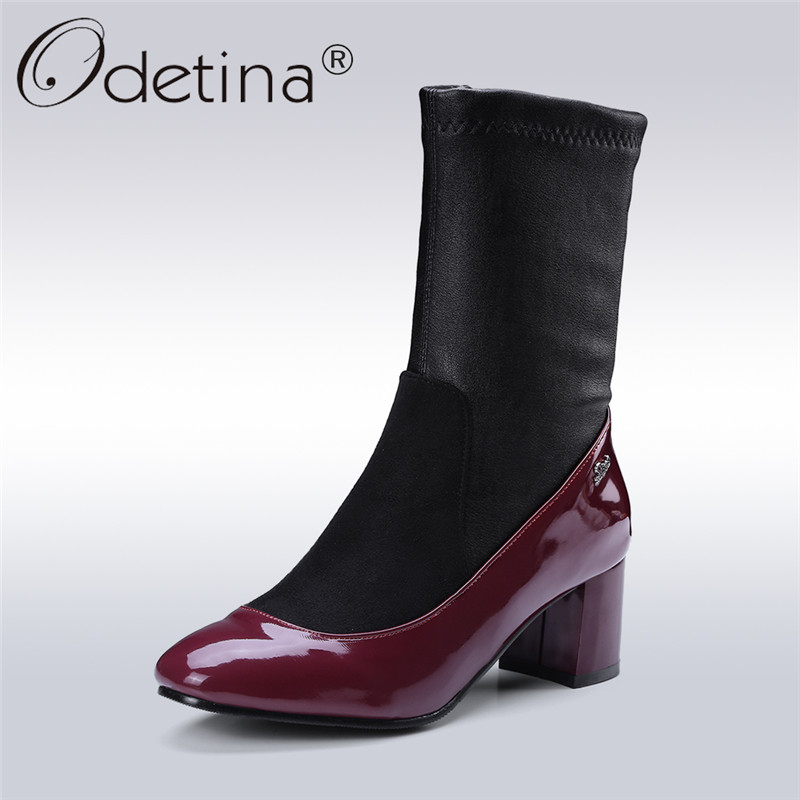 Odetina 2017 New Fashion Square Toe Ankle Sock Boots Women Chunky Heel Short Boots Side Zipper Autumn Winter Shoes Big Size 48 odetina new fashion women metal buckle ankle boots pointed toe gothic punk style motorcycle boots winter shoes black big size 48