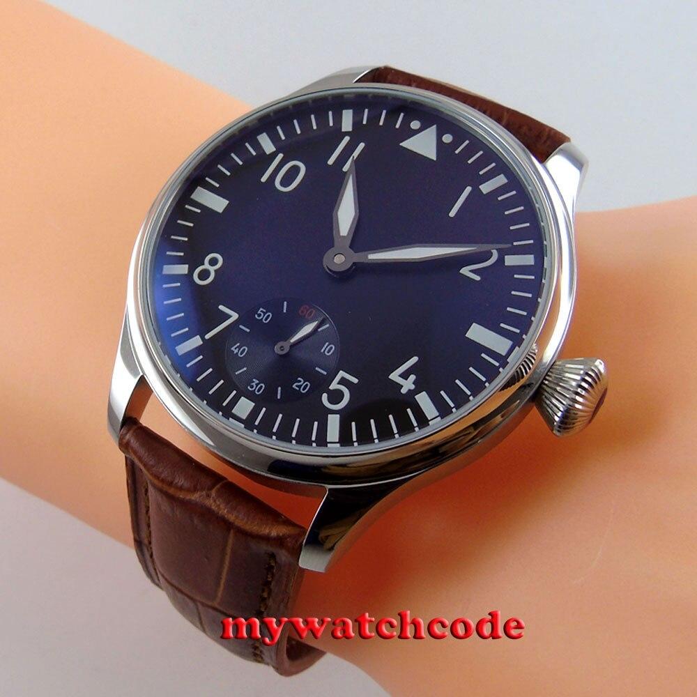 44mm parnis black dial luminous ST36 6498 hand winding mens watch P33B 44mm parnis greenl luminous number black dial 6498 hand winding watch