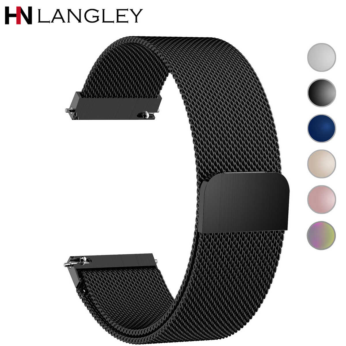 General Quick Release Watch Strap Milanese Magnetic Closure Stainless Steel Watch Band Replacement Strap 16mm 18mm 20mm 22mm 24