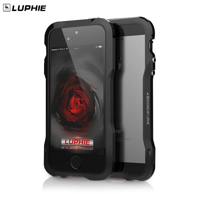 for iphone 5s se Luphie slim Metal phone Bumper Case for iphone 5 se Aluminum Bumper Frame Phone Cover + Back Leather Sticker<