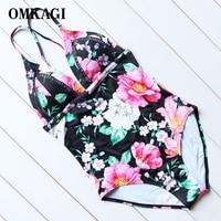 OMKAGI Backless Floral Black Women One Piece Swim Suits Monokini Swimsuit Women Padded Swim Wear Adjustable