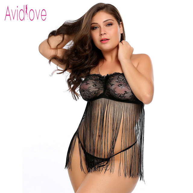 ad3e344d26 Avidlove Sexy Porno Baby Doll Plus Size Lingerie Erotic Hot Sex Costume  Women Tassel Nightwear Dress