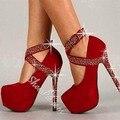 УЛЬТРА ВЫСОКИЙ КАБЛУК женская обувь 15 см высотой с 4.5 см платформа slip-on тип закрытия и украсить стразами пятки черный и красный