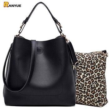 Высококачественная кожаная женская сумка, сумка через плечо, однотонные Большие женские сумки, набор большой емкости, женские сумки тоут из... >> RANYUE Official Store