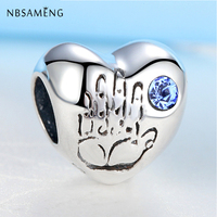 Authentic 100 925 Sterling Silver Charm Bead Baby Boy Heart Blue Red Crystals Fit Pandora Bracelets