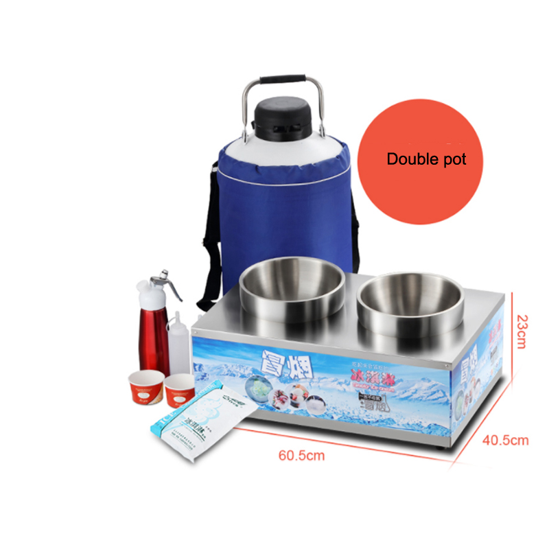 Горячая Распродажа двойной горшок низкого давления жидкий азот свернутый мороженое машина мороженое курительная машина