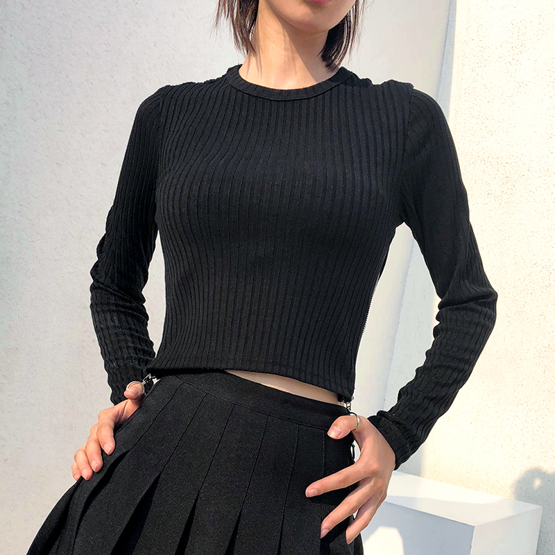 8Sweetown Harajuku Autumn Winter Tshirt Black Korean Fashion Side Zipper Split Shirt Women Striped Crop Top Long Sleeve T Shirt