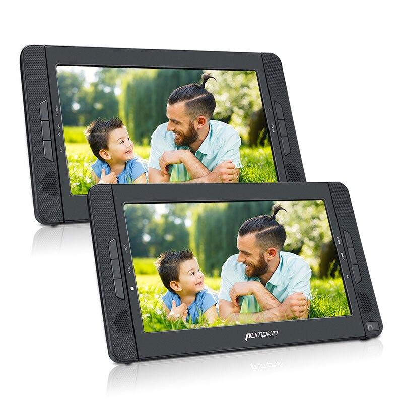 Citrouille 10.1 ''Portable voiture appuie-tête lecteur DVD HD double écran voiture moniteur soutien région lecteur DVD gratuit USB haut-parleurs intégrés