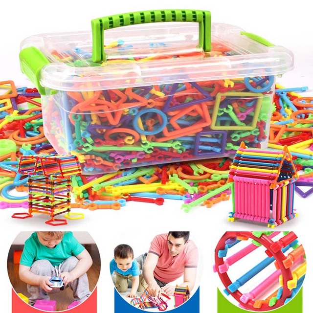Kids Building Blocks Toy Set with Box Flexible Mixed Shape Sculpting Sticks DIY Educational Toys NSV775