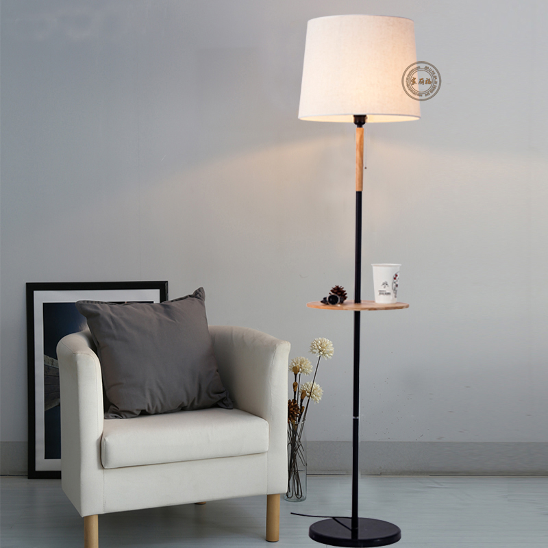 Фото Nordic modern floor lamp The new living room lamp room bedroom bedside decorative cloth hotel NEW wood reding lamp Creative MZ10