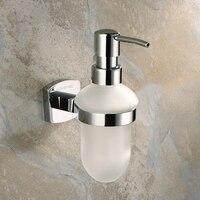 Messing zeep dispenser/lotiondispenser, brass basis met verchroomd + frosted glazen container, badkamer hardware