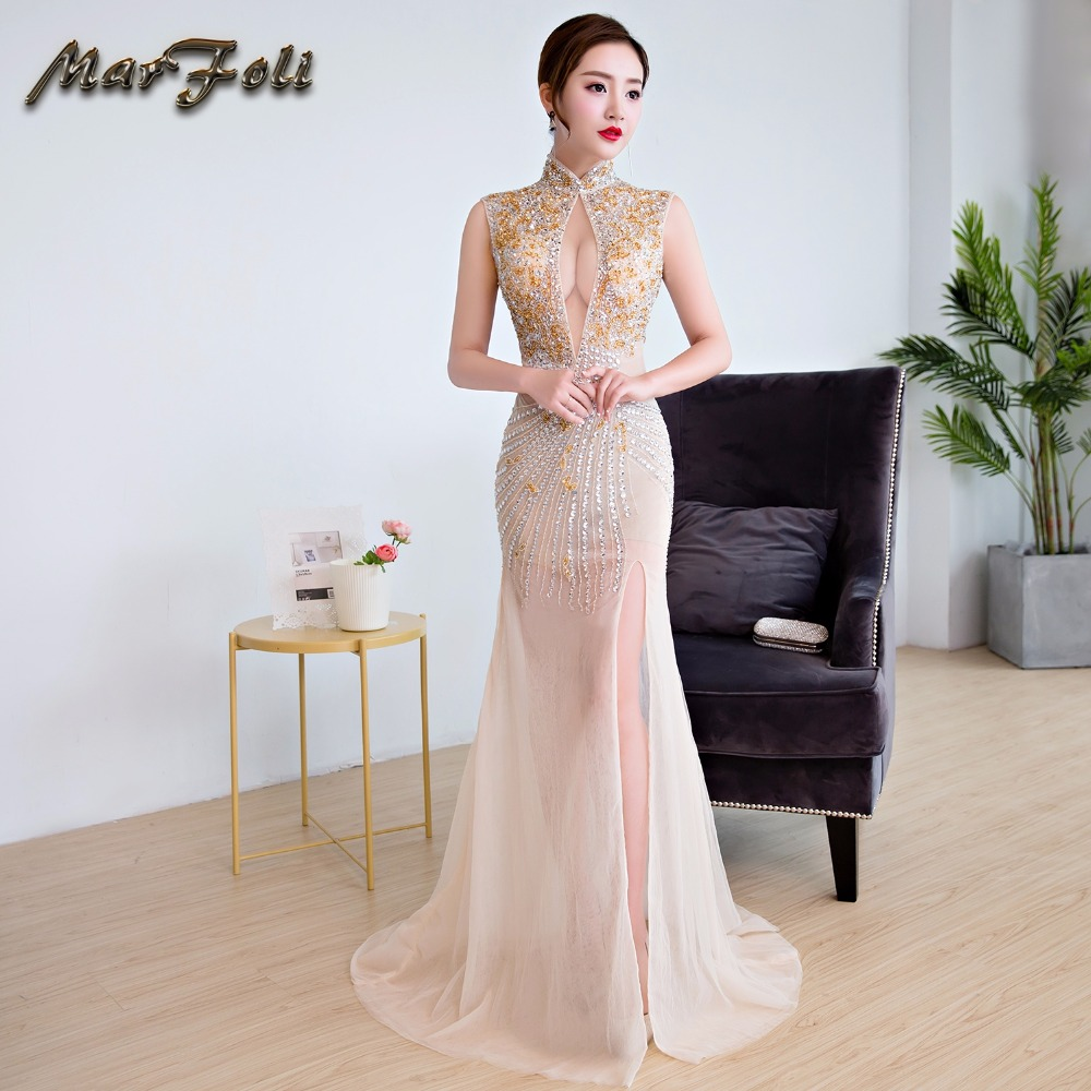 High Quality Sexy Long   Evening     Dresses   2018 With Too Many Beads Elegant Appliqued Beaded Prom Party Gowns Robe De Soiree GE40