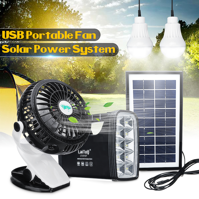 Solar Panel Power Storage + Mini Clip USB Fan Generator LED Light USB Charger Home Outdoor 360 Portable Rechargeable Battery Fan 4 in 1 portable exquisite usb mini solar blue fan solar fan super durable energy saving led flashlight lighting charging light