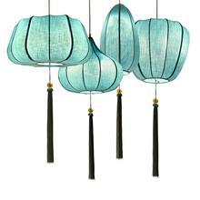 Китайский тканевый фонарь, подвесной светильник из синей ткани в стиле ретро, подвесной светильник для внутреннего ресторана, гостиной, подвесной светильник ing PA0573