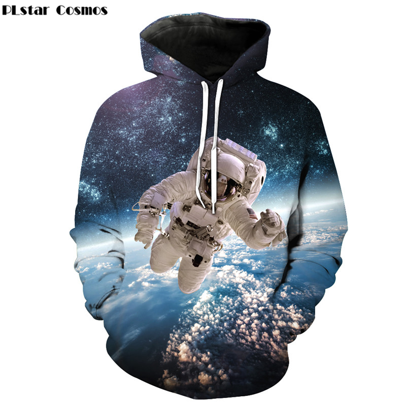 PLstar Cosmos 2017 Autumn New Fashion 3d Hoodies Cool Astronaut Print 3D Men Women Hoody Sweatshirt casual Tracksuits