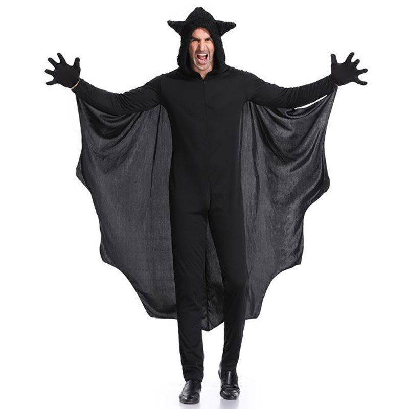 Umorden Purim Halloween Party Costume Man Black Bat Vampire Costumes for Men Bat Cosplay Long Jumpsuit