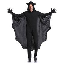 Umorden Purim Halloween Party Costume Man Black Bat Vampire Costumes for Men Cosplay Long Jumpsuit