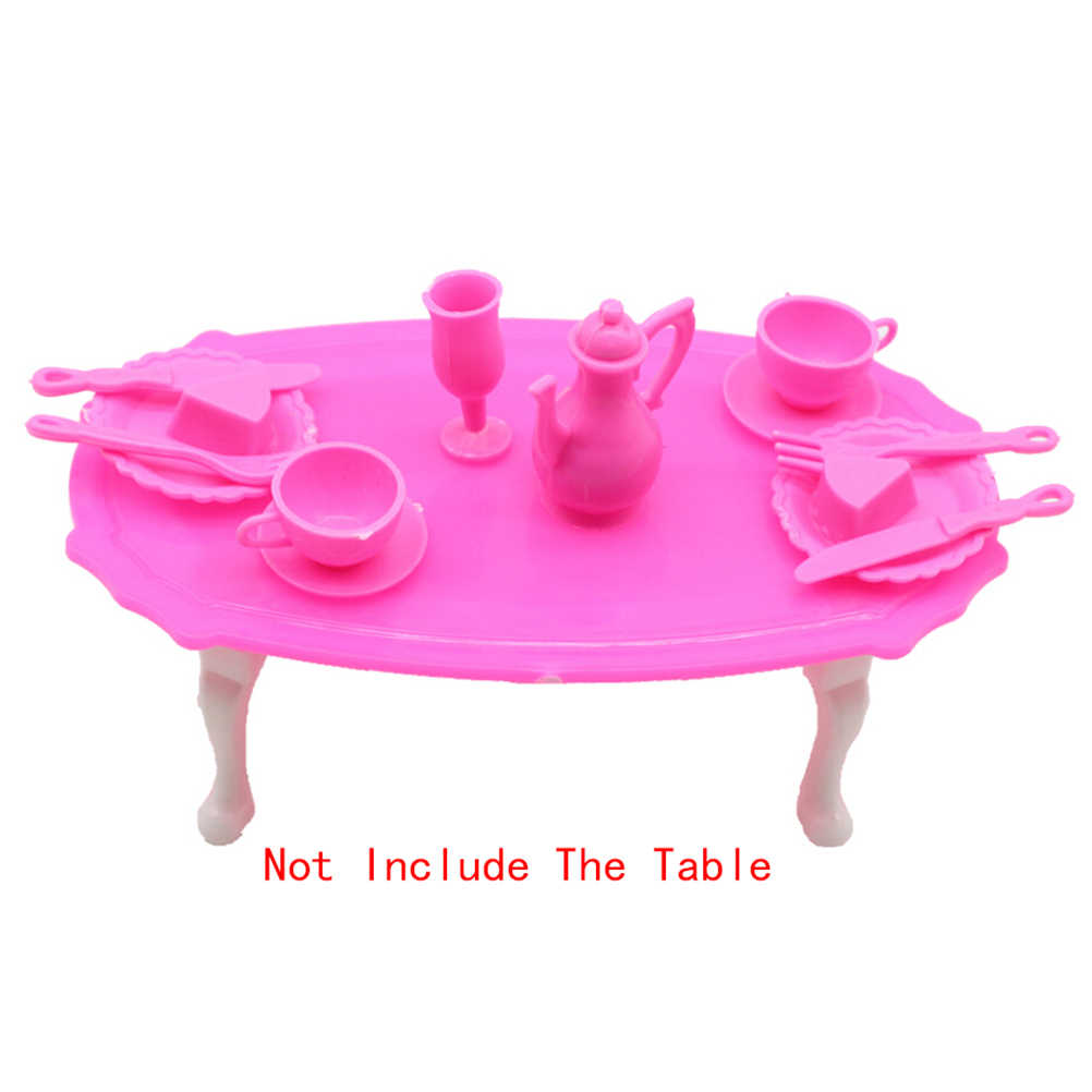 12 יח'\סט ורוד ארוחת ערב שולחן עבור בנות העמד פנים שחק מטבח מזון צעצוע עבור ברבי בובת ילדה מתנת יום הולדת אביזרי מתנה צעצוע