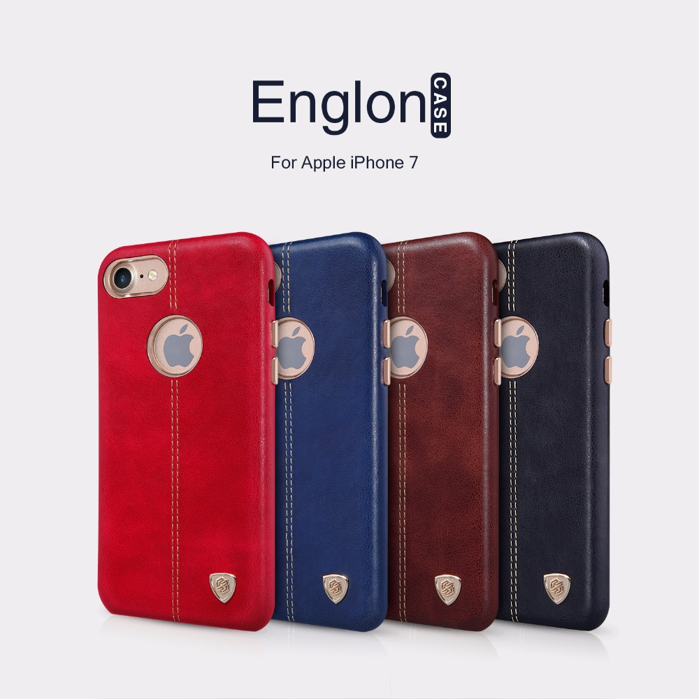 imágenes para Nillkin caso lether PC Englon Vintage Cuero de LA PU Caso de La contraportada para el iphone 7 cubierta de la caja (4.7 pulgadas) en forma magnética soporte para coche