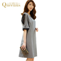 Queenus 2017 Women Dress Patchwork Flare Sleeve Casual Day Dresses Knee Length O Neck Lace Hollow