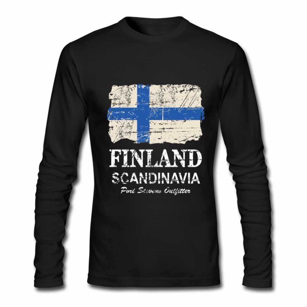 2018 Classic hand paint long Sleeve cotton Vintage Finland Flag tshirt Men t-shirt Male finland nation t shirts feyenoord gremio