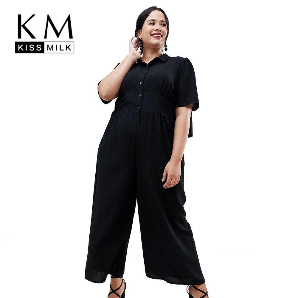 Kissmilk Plus Size Women Clothes Solid Black Simple Commuter Pleated Shirt Collar Short-sleeved Wide-legged Jumpsuit