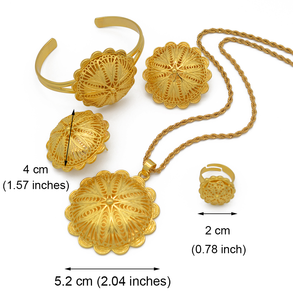 Anniyo Ethiopian Jewelry sets Pendant Necklaces Earrings Ring Bangles for Womens Gold Color Eritrean African Bride Gifts #207506 4