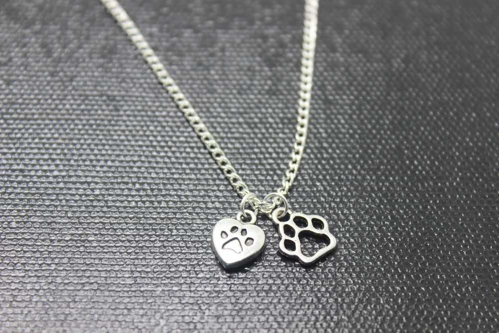 12pcs/lot antique Silver tone love my dogs with dog paw charmpendant Necklace Puppy Animal Canine Jewelry