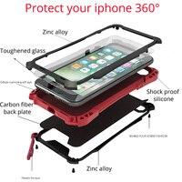 Para el iphone 7 Caja de Lujo Cubierta Salpicaduras de Agua A Prueba de Golpes para el iphone 7 más 7 más 360 de cuerpo Completo Carcasa de Metal de Aluminio Gorilla Glass