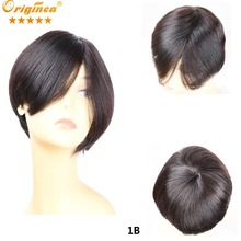 Human Hair Wigs Women Bob Short  Ombre KELLY Short Straight  Brown Human Hair Bob Wigs With Bangs Daily Wear Wigs about 8 Inch