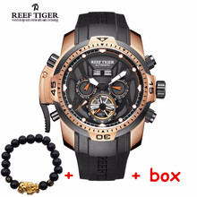 Reef Tiger luxury brand Sport Watch reloj hombre Calendar Grand Dial Pink Gold Transformer Edition Watches relogio masculino