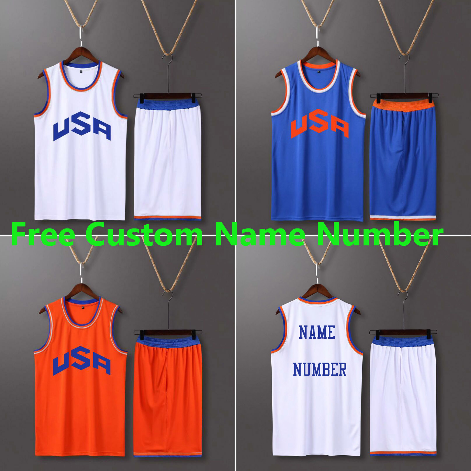 <font><b>Men</b></font> & Kid USA Basketball Kit Shirt <font><b>Shorts</b></font> <font><b>Suit</b></font> Uniforms Youth college Throwback Basketball Jersey Kits Sets Custom Team Clothing image