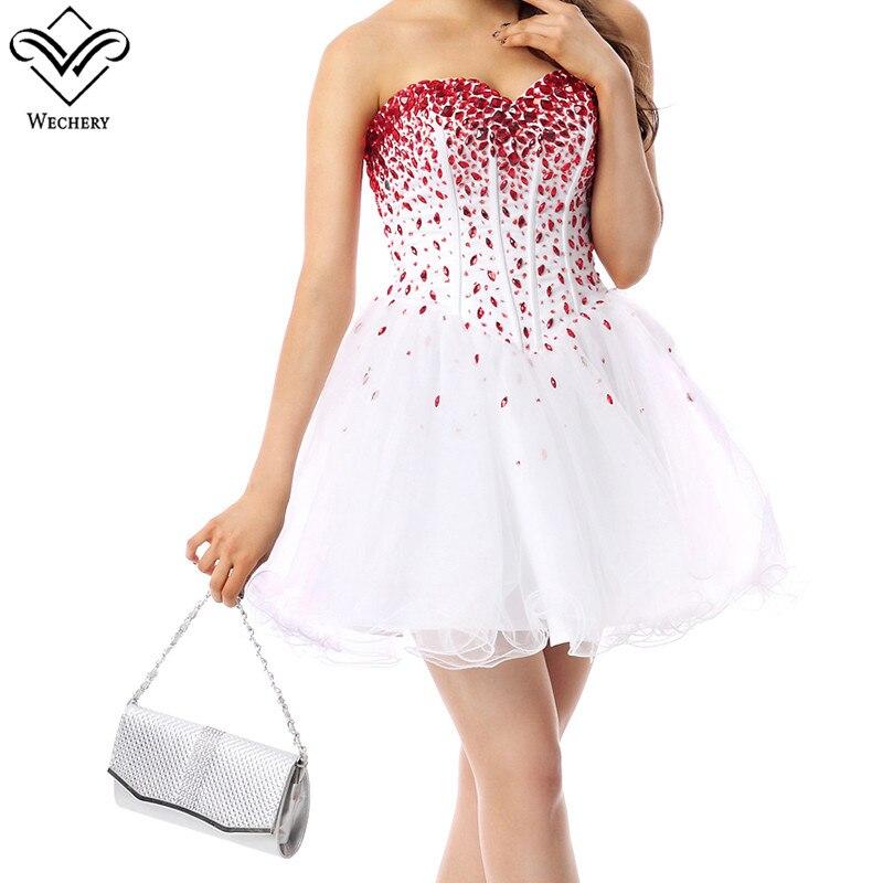 4824594d6e8d61 Vestido Party Rot Kurze Süße Perlen Weiß Tutu Sommer Wechery Vestidos Prom  Kleid Mini Weiß Frauen ...