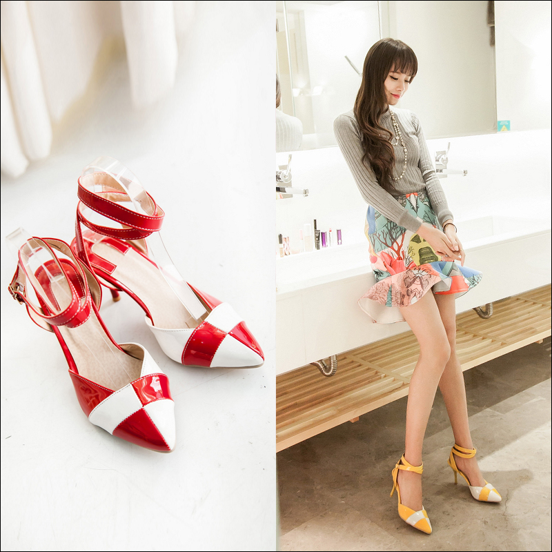 2016 New Style Women Sandals Sexy Pointed Toe Ankle Strap High Heel Shoes Woman Fashion Mixed Colors Sandals Plus Size Summer size 30 43 woman ankle strap high heel sandals new arrival hot sale fashion office summer women casual women shoes p19266