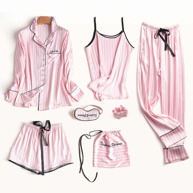 Summer 2018 Fashion Women s 7 Pieces Pajamas Sets Satin Silk Sexy Lingerie  Sleepwear Unicorn Pajamas Set c7a5b05db