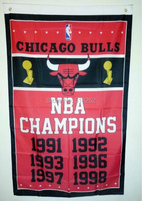 """אלופי עולם שיקגו בולס NBA רגל 3x5 דגל 150X90 ס""""מ באנר דגל מותאם אישית פוליאסטר 100D לולאות 6038. משלוח חינם"""