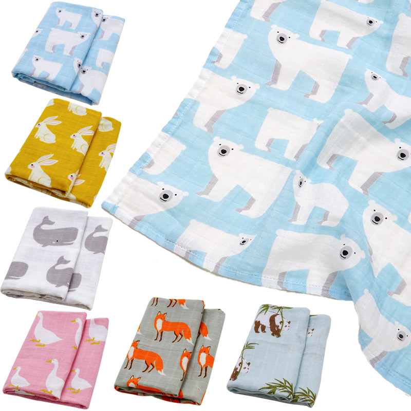 2019 Fashion Muslin Baby Wrap Baby Blanket Organic Cotton Soft Infant Cobertor Swaddling Cute Kid Bibs Scarf Foulard Bath Towel