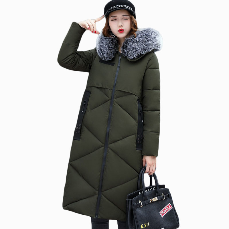 2018 NEW HOT WOMEN WINTER JACKER MID-LENGTH LARGE FUR COLLAR THICKEN WARM FEMALE PARKAS COTTON WADDED COAT HIGH QUALITY ZL568
