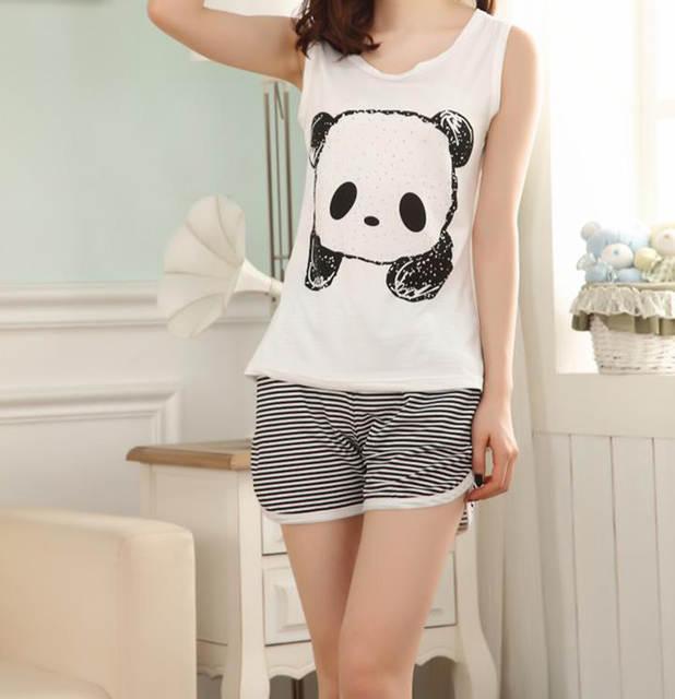 Online Shop Hot Cute Summer panda pajamas women set milk silk sleeveless  sleepwear womens girls panda Pyjamas cartoon vest pajamas suit  fef68d885