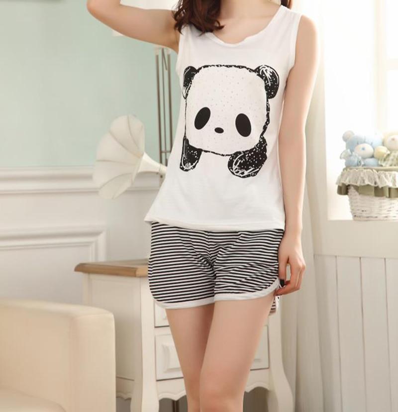 66062deee6e US $9.57 24% OFF|Hot Leuke Zomer panda pyjama vrouwen set melk zijden  mouwloze nachtkleding womens meisjes panda Pyjama cartoon vest pyjama pak  in Hot ...