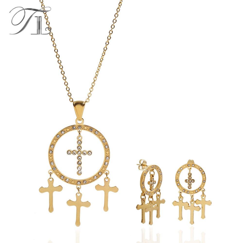 Juego de collar y pendientes de cristal con forma de cruz de círculo hueco TL para mujer