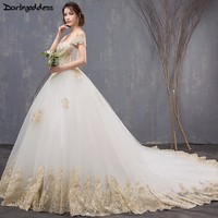 Vestido de Noiva Luxury Gold Lace Wedding Dresses 2018 Ball Gown Cap Sleeve Long Tail Wedding Dresses Elegant Muslim Bridal Gown
