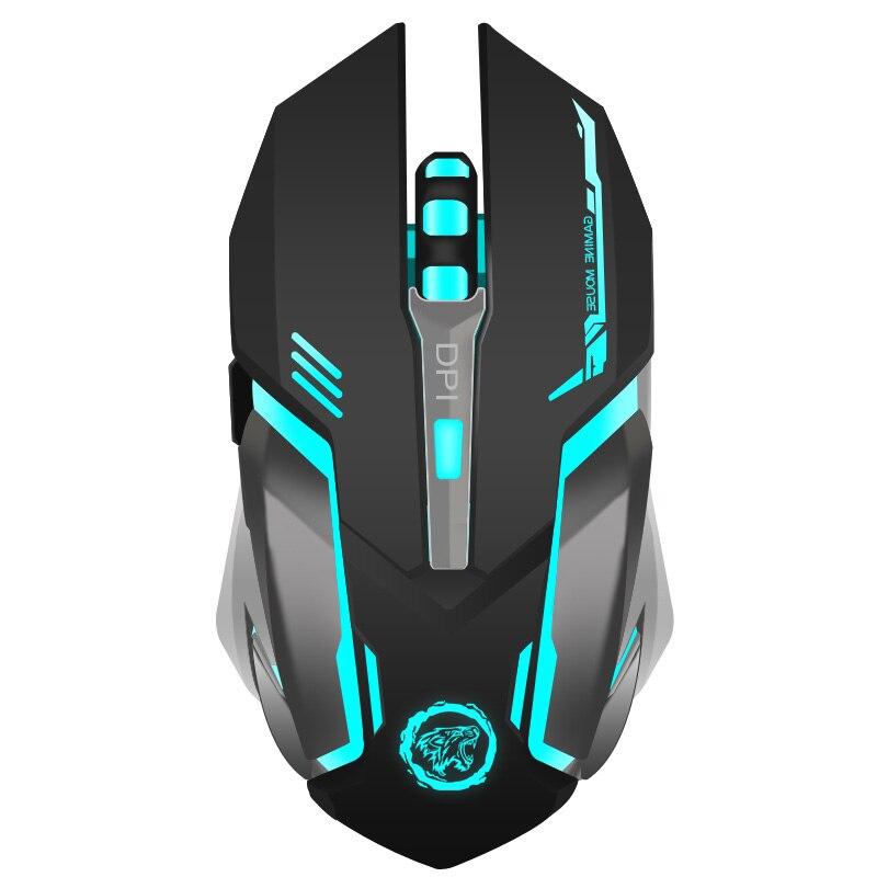 Перезаряжаемые Беспроводной игровой Мышь 7-цвет Подсветка дыхание комфорт геймер Мыши компьютерные для настольного компьютера ноутбук PC