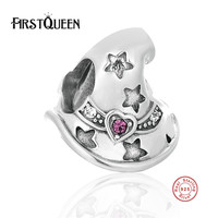 FirstQueen 925 Sterling Silver Halloween DIY Witch Hat Charm Beads Fit For Women Bracelets Bangles Fine