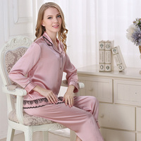Women silk pajama sets Two Piece Set Homewear solid color women's sleep&lounge casual black sexy sleepwears Pajamas