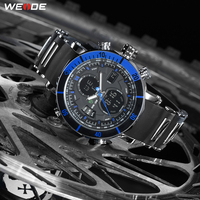Подарок WEIDE Секундомер Хронограф Дата аналоговые кварцевые цифровые наручные часы с силиконовым ремешком сигнализация с двойным часовым п